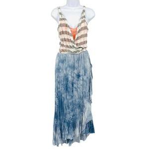 Scrapbook Stripe Tie Dye Mixed Fabric Maxi Dress